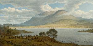 mount-wellington-hobart-from-kangaroo-point-with-aboriginals-in-tasmania-australia