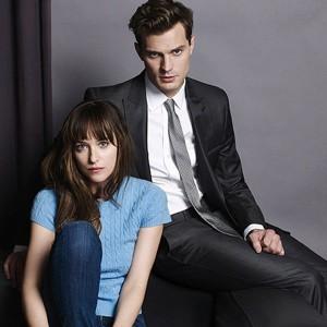 Dakota Johnson as Anastasia Steele with Jamie Dornan as Christian Grey in Fifty Shades of Grey